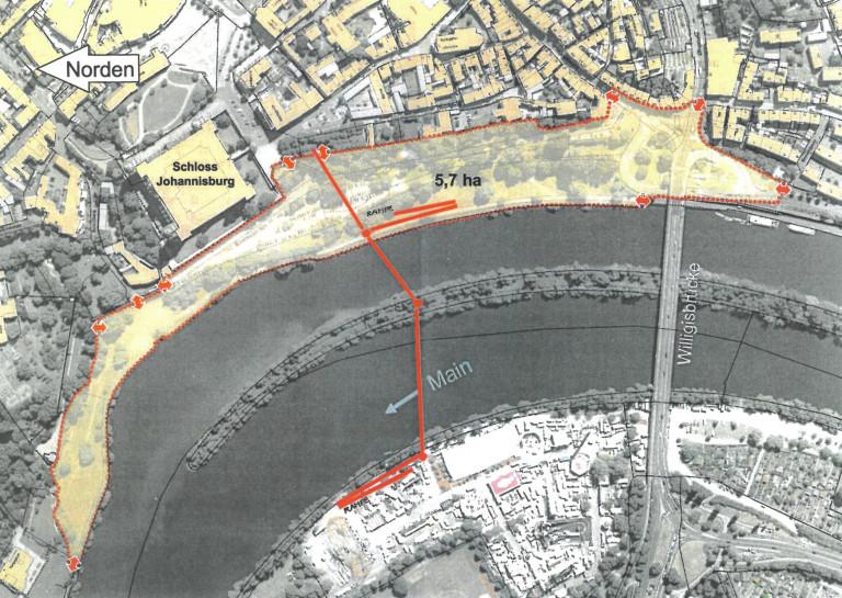 Skizze des möglichen Verlaufs einer Mainpromenade